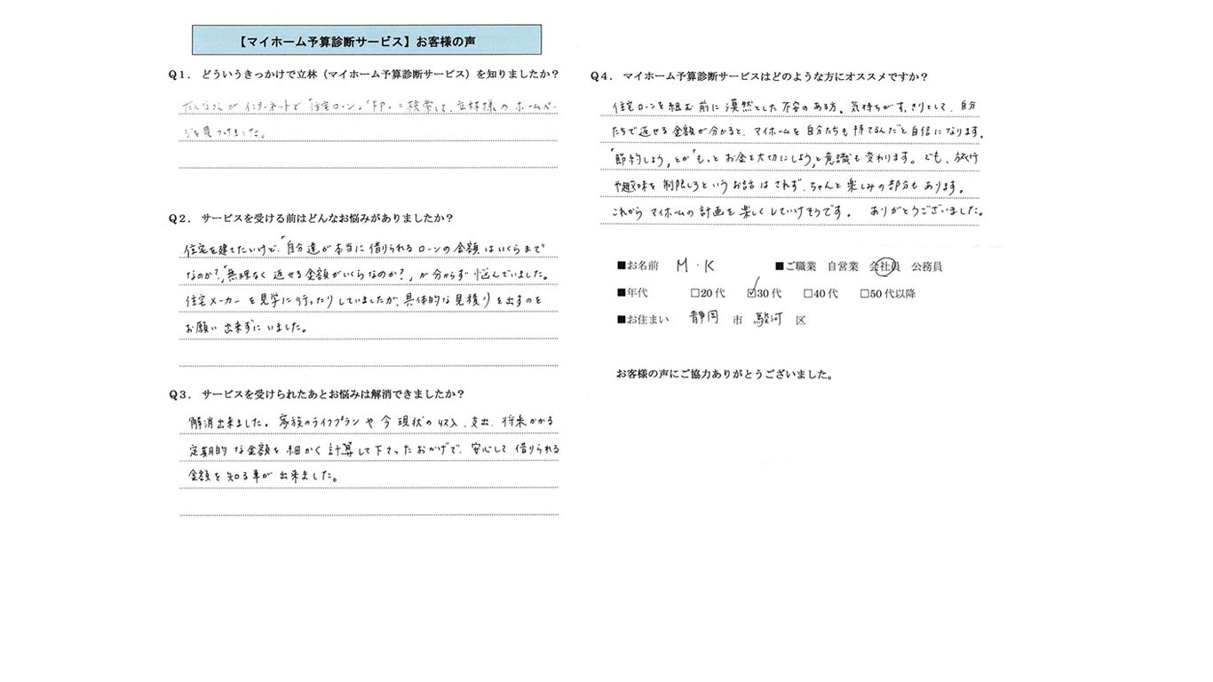 静岡マイホーム予算診断のご感想